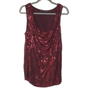 Velvet by Graham & Spencer Sequin Drape Neck Top M
